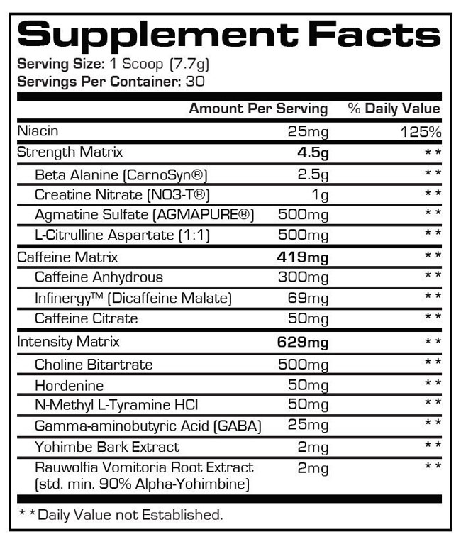 Hyde pre workout nutrition facts