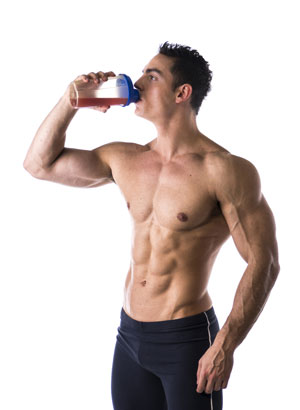 Man drinks pre workout